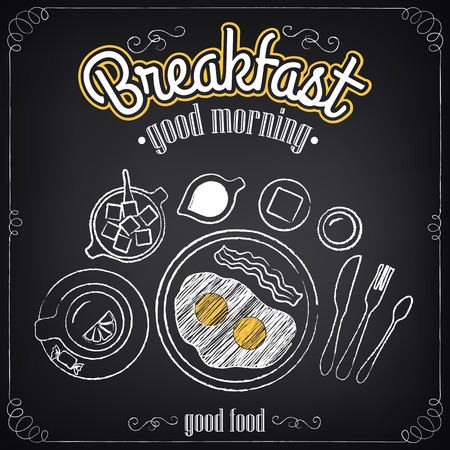 Vintage Poster. Breakfast. Set on the chalkboard. Sketches  for design in retro style