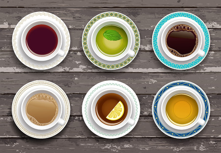 Illustration pour Vector illustration. Set of coffee and tea cups on a wooden table. Top view - image libre de droit