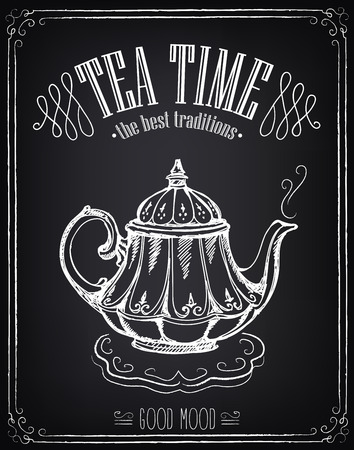 Illustration with the words Tea time and teapot. Freehand drawing with imitation of chalk sketch