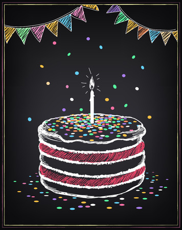 Illustration pour Birthday cake with candle. Festive decorations and confetti. Freehand drawing with imitation of chalk sketch - image libre de droit
