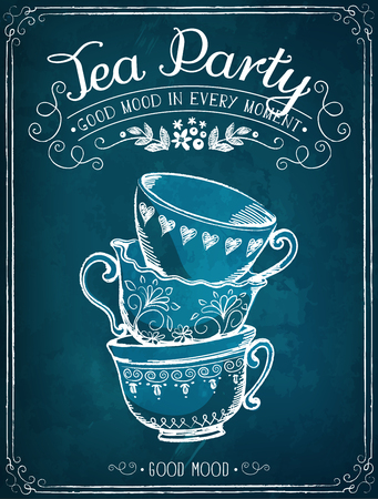 Illustration with the words Tea Party with cups. Freehand drawing with imitation of chalk sketch
