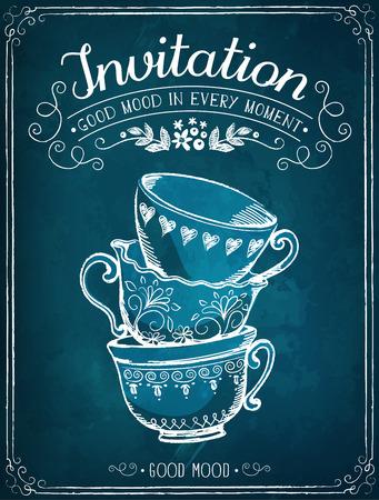 Ilustración de Illustration with the words Invitation and cups. Freehand drawing with imitation of chalk sketch - Imagen libre de derechos