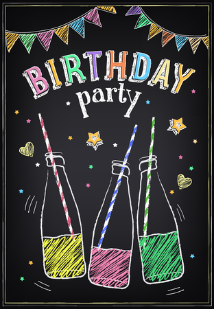 Illustration pour Invitation to the birthday party with bottles of soda and confetti. Freehand drawing with imitation of chalk sketch - image libre de droit