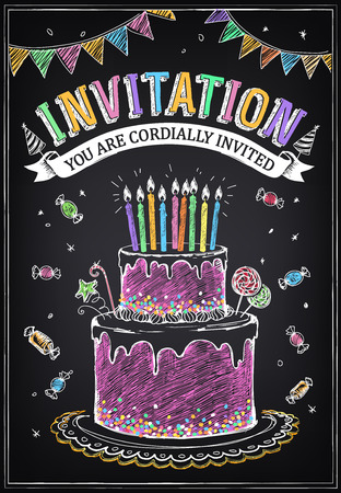 Vektor für Invitation to the birthday party with a cake, candies and confetti. Freehand drawing with imitation of chalk sketch - Lizenzfreies Bild