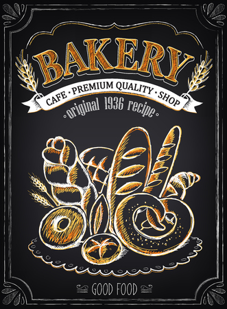 Illustration pour Vintage Bakery Poster. Freehand drawing with imitation of chalk sketch. - image libre de droit