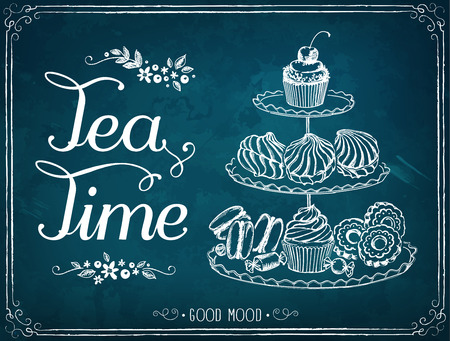 Ilustración de Illustration with the words Tea Time three-tiered stand with sweet pastries. - Imagen libre de derechos