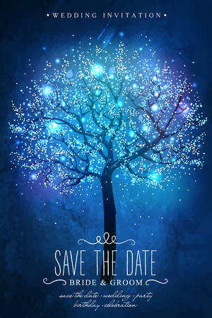 Illustration pour Save the Date. magic tree. Inspiration card for wedding celebration, date, birthday party. Wedding invitation - image libre de droit