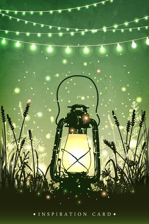 Ilustración de Amazing vintage lanten on grass with magical lights of fireflies at night sky background. Unusual vector illustration. Inspiration card for wedding, date, birthday, tea or garden party - Imagen libre de derechos