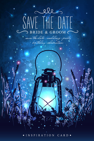 Amazing vintage lanten on grass with magical lights of fireflies at night sky background. Unusual vector illustration. Inspiration card for wedding, date, birthday, tea or garden party