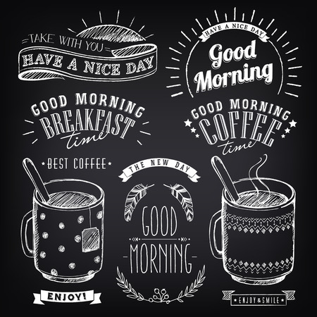 Illustration pour Set of graphic elements for design of theme of Breakfast Good morning. Cups of coffee and tea. Stylized sketch of chalk. Inscriptions, vintage labels, ethnic elements - image libre de droit