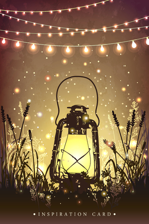 Illustration pour Amazing vintage lanten on grass with magical lights of fireflies at night sky background. Unusual illustration. Inspiration card for wedding, date, birthday, tea or garden party - image libre de droit