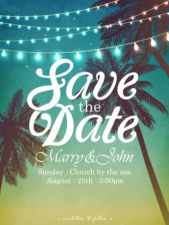 Ilustración de Hanging decorative holiday lights for a beach party. Inspiration card for wedding, date, birthday. Beach party invitation - Imagen libre de derechos