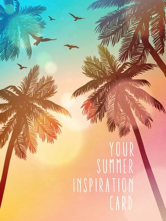 Illustration pour Summer beach illustration. Inspiration card for wedding, date, birthday, beach party invitation - image libre de droit
