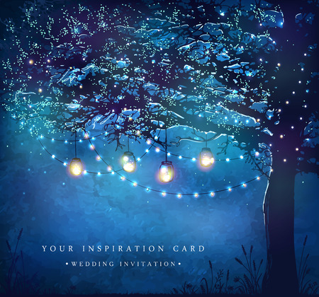 Illustration pour Hanging decorative holiday lights for a party. Garden party invitation.  Inspiration card for wedding, date, birthday, tea party - image libre de droit