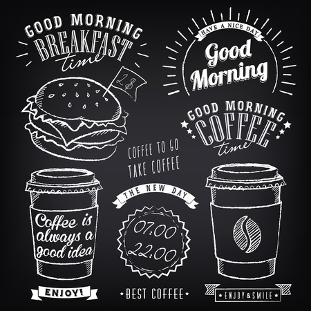Illustration pour Set of graphic elements for design of theme of Breakfast Good morning. Cups of coffee. Stylized of chalk sketch - image libre de droit