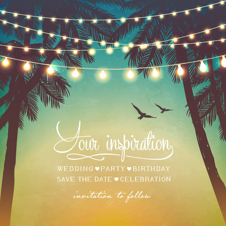 Foto de Hanging decorative holiday lights for a beach party. Inspiration card for wedding, date, birthday. Beach party invitation - Imagen libre de derechos