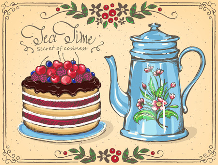 Illustration Tea Time with Berry cake and teapot. floral frame.  sketch.  Inspiration card for birthday party, tea party