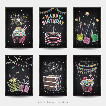 Set of invitation cards to the birthday party with a cake, soda, sparklers and gift. Freehand drawing with imitation of chalk sketch