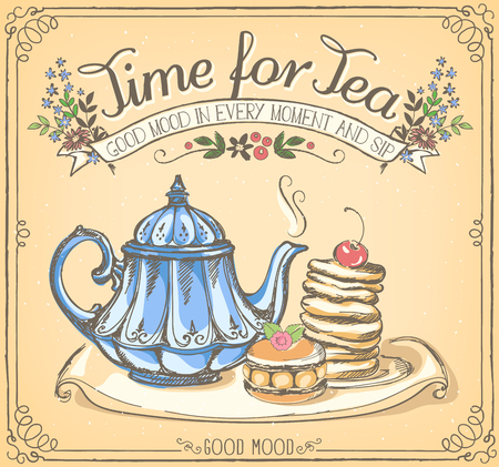 Ilustración de Illustration with the words Time for tea with teapot and pancakes. Freehand drawing with imitation of chalk sketch - Imagen libre de derechos