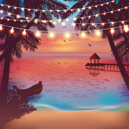 Illustration for Hanging decorative holiday lights for a beach party. Inspiration card for wedding, date, birthday. Beach party invitation. Travel poster - Royalty Free Image