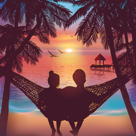 Illustration pour Couple in love at the beach on hammock. Inspiration for wedding, date, romantic travel card. Family - image libre de droit