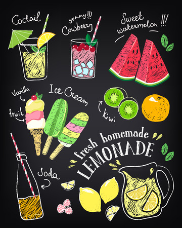 Illustration pour Set of hand drawn stickers and icons of summer food and drink. - image libre de droit