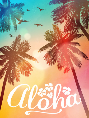 Illustration for Summer beach illustration Aloha. Inspiration card for wedding, date, birthday, tropical party invitation. - Royalty Free Image