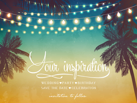Illustration pour Hanging decorative holiday lights for a beach party invitation. Inspiration card for wedding, date, birthday - image libre de droit