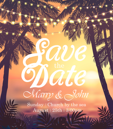 Illustration for Hanging decorative holiday lights for a beach party invitation. Inspiration card for wedding, date, birthday, travel advertising - Royalty Free Image