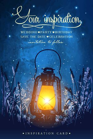 Illustration pour Amazing vintage lanten on grass with magical lights of fireflies at night sky background. Unusual vector illustration. Inspiration card for wedding, date, birthday, tea or garden party. - image libre de droit