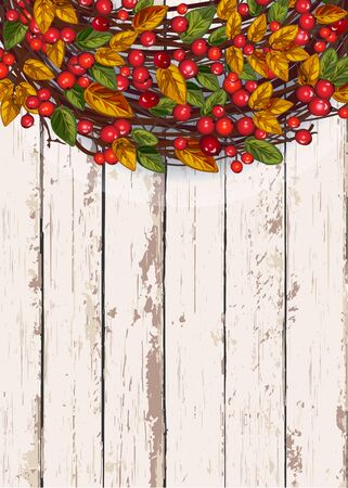 Illustration pour Vector illustration with autumn wreath and berries on a wooden background. The concept of seasonal and public holidays. Thanksgiving Day. - image libre de droit