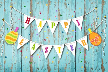 Illustration pour Happy Easter wooden background. Vintage banner with garland of colour decoration flags and confetti - image libre de droit