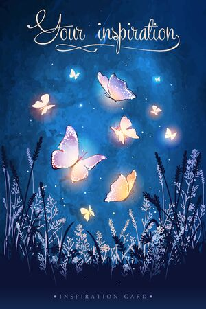 Illustration pour Amazing magical glowing butterflies. Unusual vector illustration. Inspiration for a wedding, date, birthday, tea or garden party. - image libre de droit
