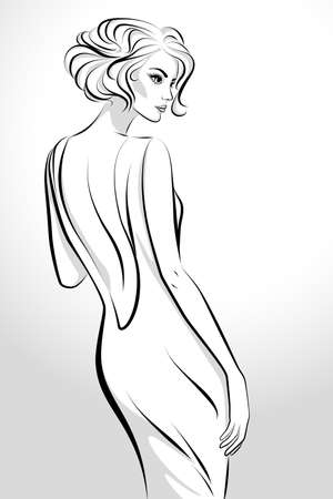 Illustration for Vector illustration of the beautiful young woman wearing dress looking back over her shoulder - Royalty Free Image