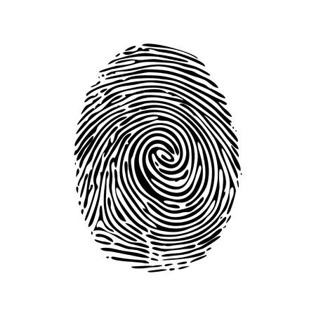 Ilustración de Realistic fingerprint isolated on a white background. Fingerprint icon. Black fingerprint. Vector fingerprint. - Imagen libre de derechos