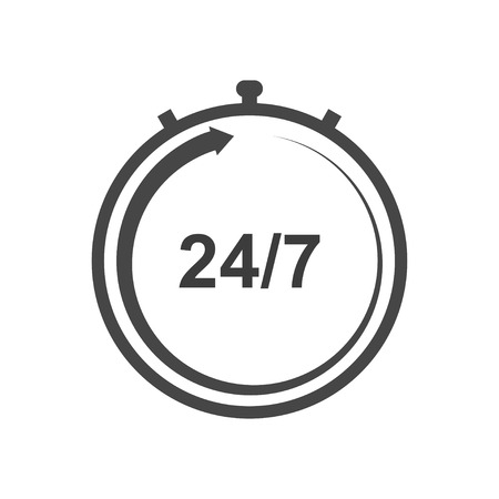Illustration pour Stopwatch vector icon. Working hours icon. Support around the clock icon. Seven days a week. - image libre de droit