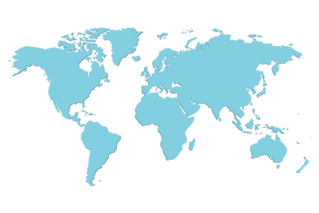 Ilustración de Worldmap vector template. World map for infographic. Blue blank world map.  Silhouette world map. Isolated vector world map. Stock vector world map. - Imagen libre de derechos