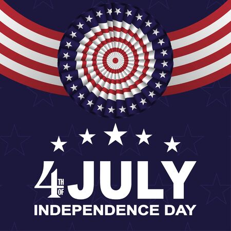 Illustration pour 4th of July, USA Independence day background with fans in colors of American flag with stars and stripes. Vector. - image libre de droit