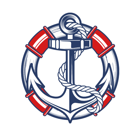 Nautical Anchor Crest Vector illustration.