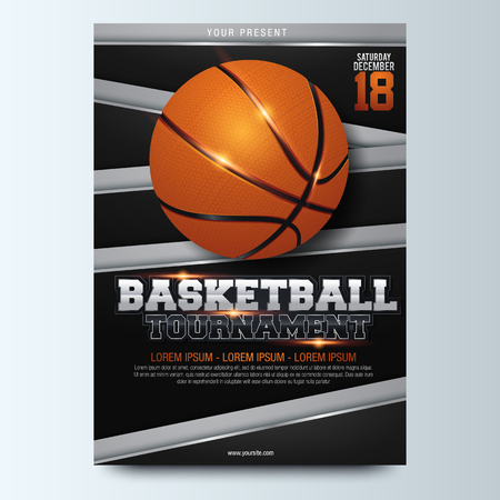 Basketball Poster Vector. Design For Sport Bar Promotion. Basketball Ball. Modern Tournament