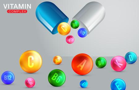 Illustration pour Multi Vitamin complex icons. Vitamin A, B group - B1, B2, B3, B5, B6, B9, B12, C, D, E, K multivitamin supplement logo - image libre de droit