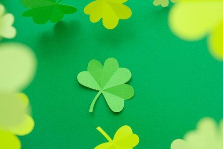 Photo for Happy St.Patrick's Day, shamrock cut from paper on white background, text greeting card raster - Royalty Free Image