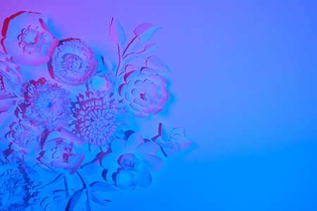 Photo pour White paper flowers made of white paper on a white background illuminated by neon light. Trendy, modern - image libre de droit