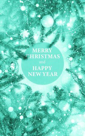 Foto de Merry Christmas and happy new year theme with round frame. - Imagen libre de derechos