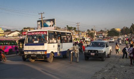 POKHARA, NEPAL - CIRCA NOVEMBER 2013: bus station in Pokhara circa November 2013 in Pokhara.