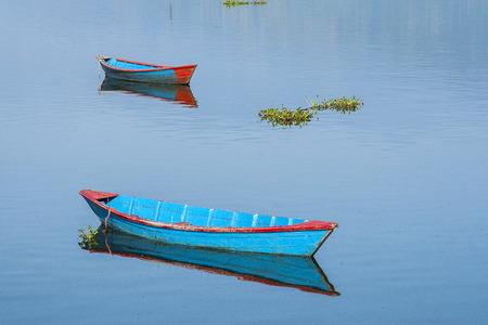 POKHARA, NEPAL: view of the lake in Pokhara circa November 2013 in Pokhara.