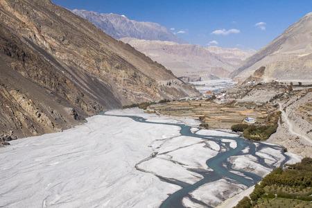 view of the Himalayas surrounded the village Kagbeni circa November 2013 in Kagbeni.