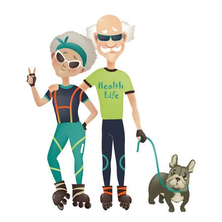 Ilustración de Cartoon active old couple, man and woman doing sport. Vector illustration - Imagen libre de derechos