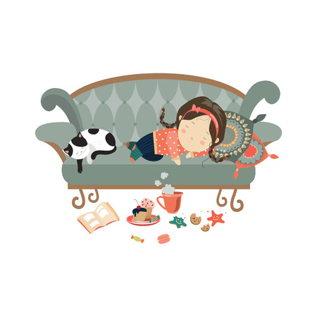 Lazy sleeping girl with cat. Vector isolated illustration