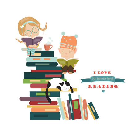 Illustration for Funny kids reading books. Vector isolated illustration - Royalty Free Image
